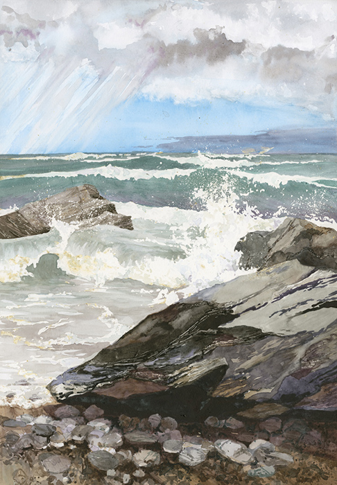 Waves 2 at Porthtowan by Julia Vaughan