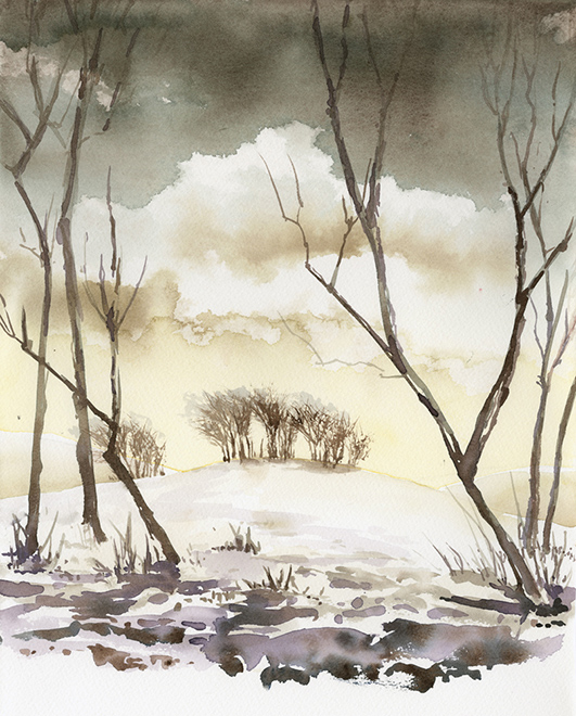 Winter on Marlborough Downs by Julia Vaughan